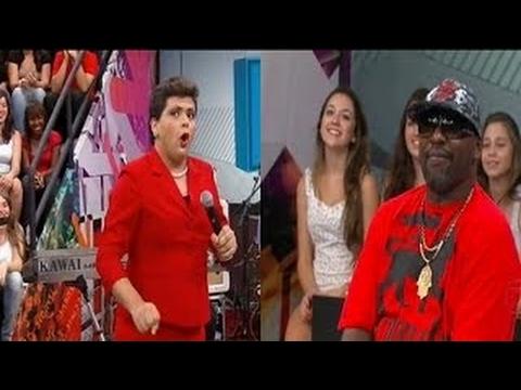 Gustavo Mendes faz imitações Como Dilma Rousseff e brinca com MC Catra no Altas Horas