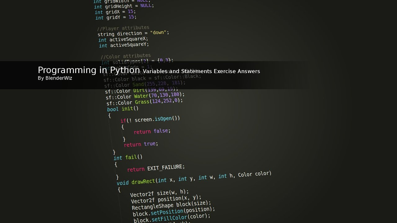 Programming In Python Variables And Statements Exercise