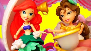 Belle and Ariel Have Tea ! Toys and Dolls Fun with Beauty & the Beast Little Kingdom Teapot Playset