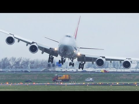 Dangerous CROSSWIND LANDINGS during a STORM at Amsterdam Schiphol - Boeing 747, Airbus 380 ...