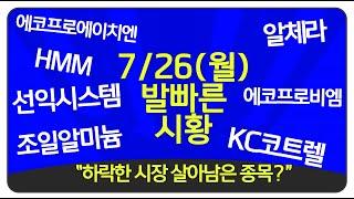 """7월26일(월) """"하락한 시장 살아남은 종목?"""" 코스피…"""