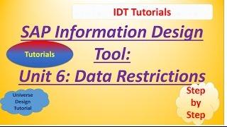 SAP IDT Unit 6 : Data Restrictions: Tutorial