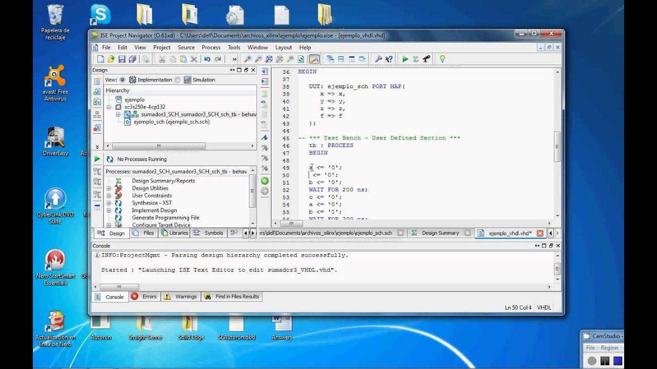 xilinx schematic simulation on