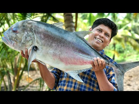 BONELESS FISH PEPPER FRY | 13.5 kg Trevally Fish Cutting & Cooking Recipe | Village Food