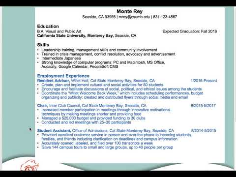 Resumes & Cover Letters | Cal State Monterey Bay