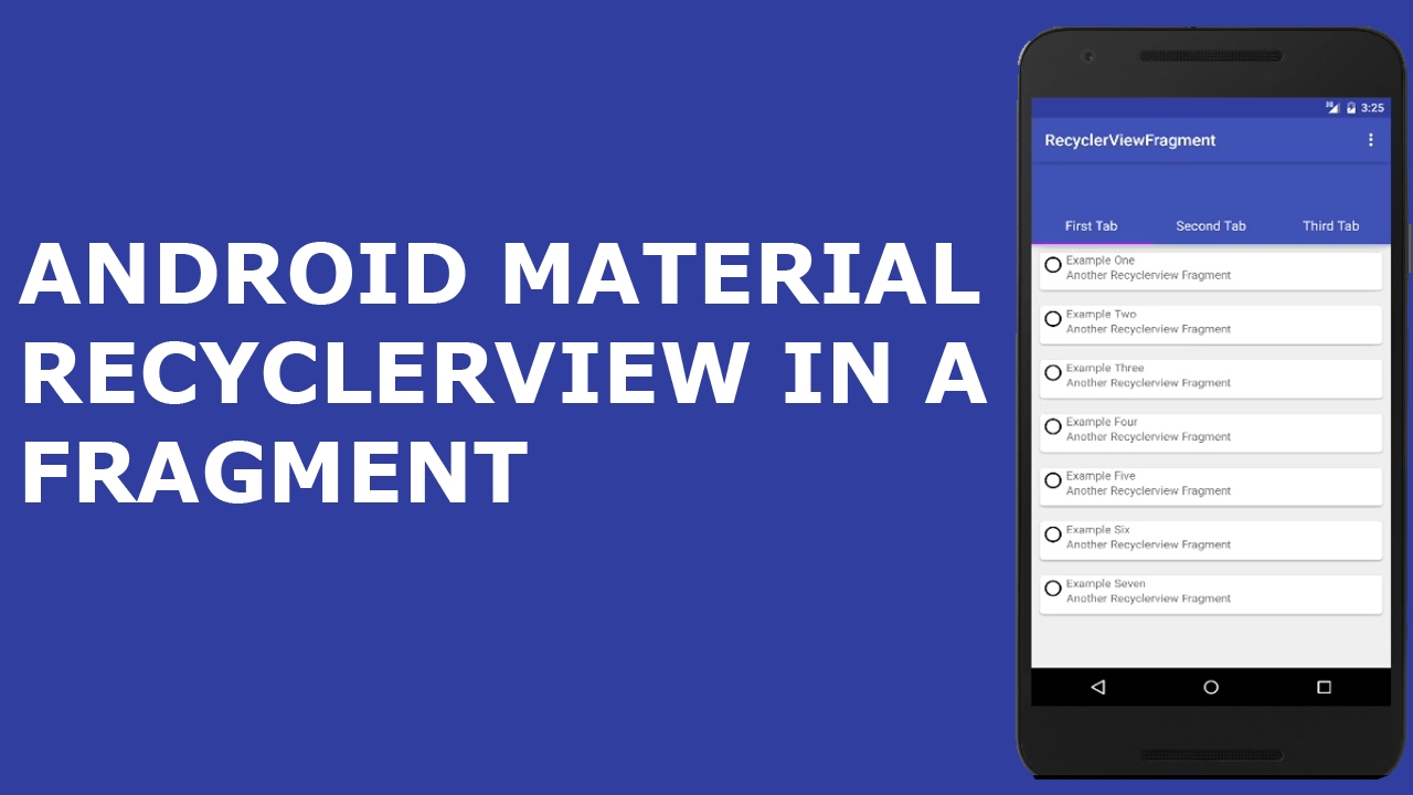 ANDROID MATERIAL DESIGN RECYCLERVIEW AND CARDVIEW IN A FRAGMENT