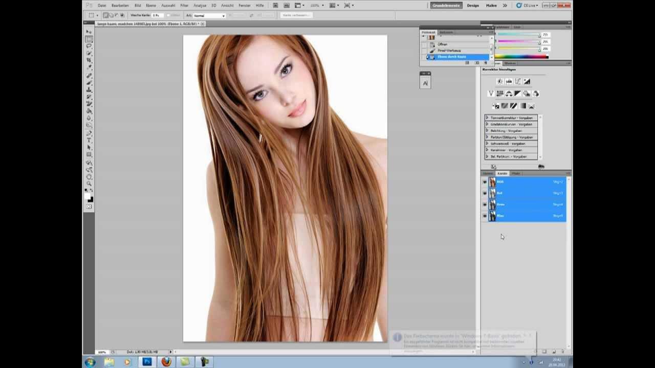 Haare freistellen farbkanale