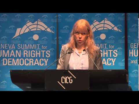 Maria Baronova, Russian human rights activist, addresses the 2015 Geneva Summit for Human Rights
