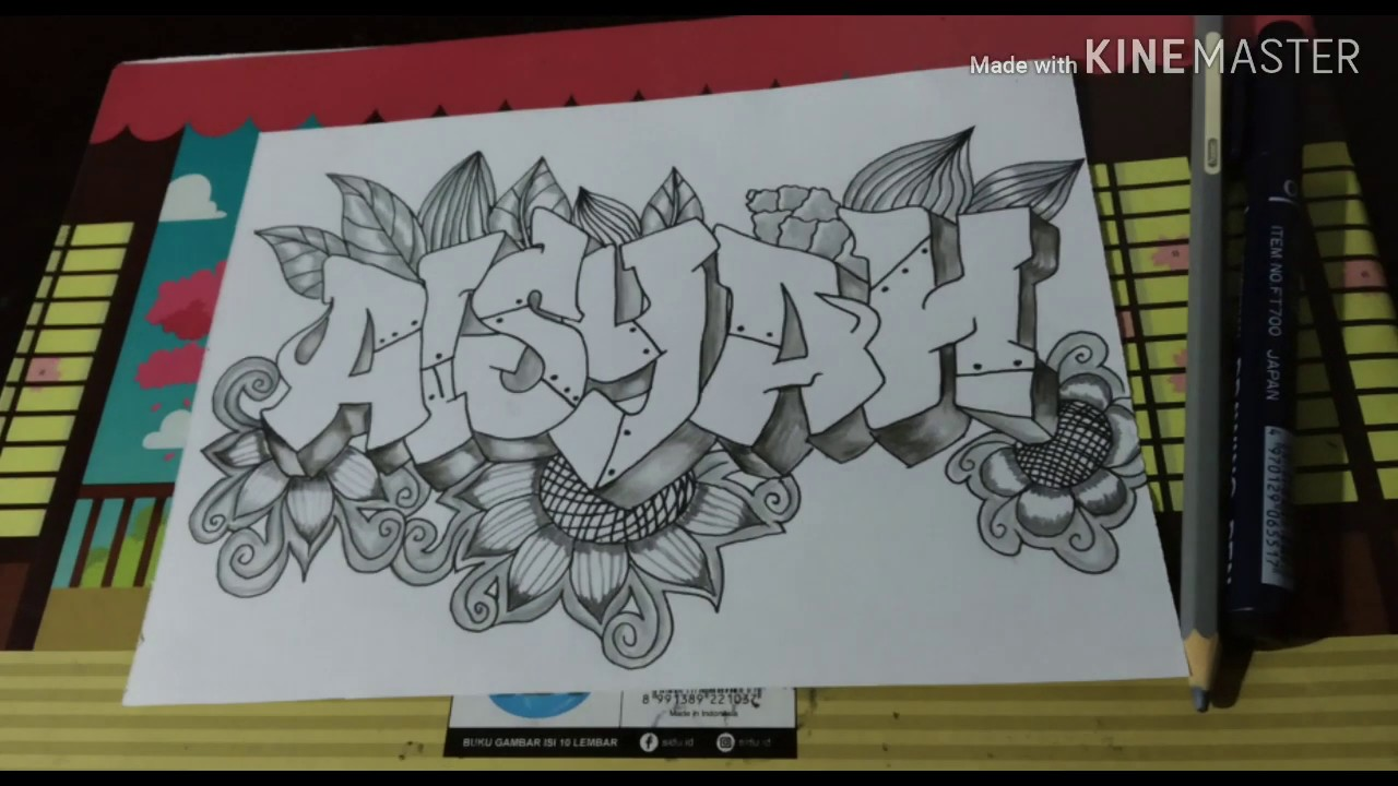 Cara Menggambar Graffiti 3d Nama Aisyah Di Kertas How To Drawing Graffiti Youtube