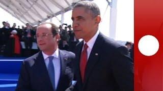 D-Day International ceremony: Obama, Putin, Elizabeth II, Hollande in Normandy (recorded live feed)