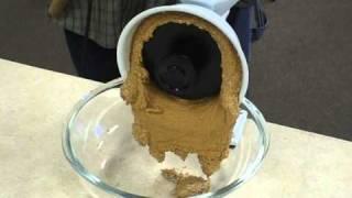 Making creamy peanut butter with Wonder Junior grain mill.