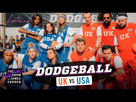 Team USA V. Team UK - Dodgeball W/ Michelle Obama, Harry Styles & More - #LateLateLondon