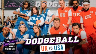 Download Team USA v. Team UK - Dodgeball w/ Michelle Obama, Harry Styles & More - #LateLateLondon Mp3 and Videos