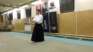 kirikaeshi zengo sword cut 2 directions- (2 irány)-boken [TUTORIAL] advanced Aikido weapon technique