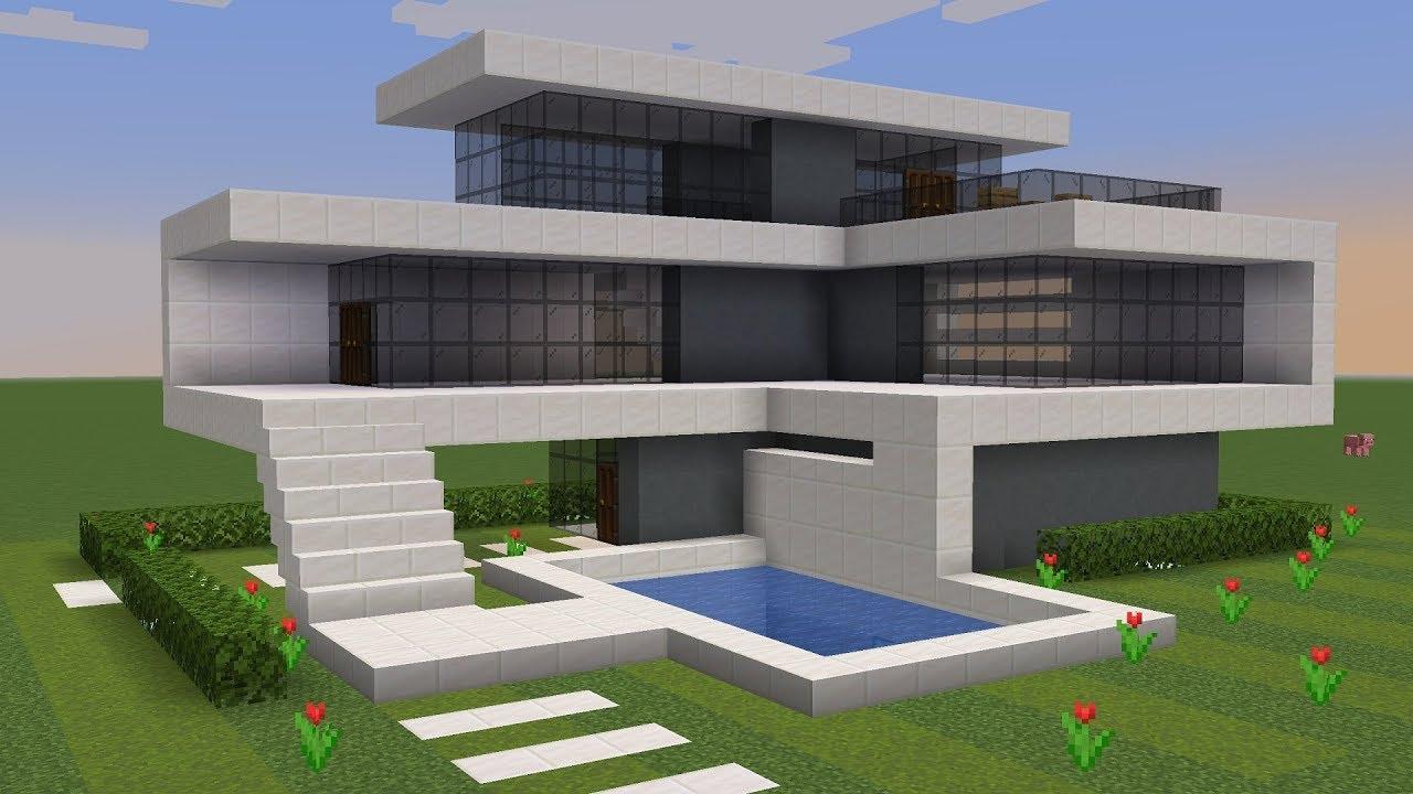 Minecraft tutorial construindo uma casa moderna pequena for Casa moderna 8