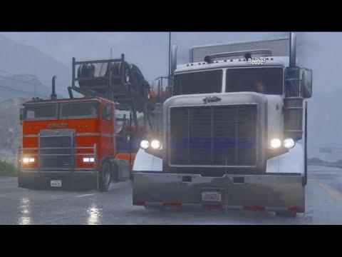 GTA 5 FiveM RP 18 Wheeler Truck Convoy - YOU WATCH THE POUNDERS??