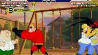 MUGEN - Peter + Homer Vs The Incredibles