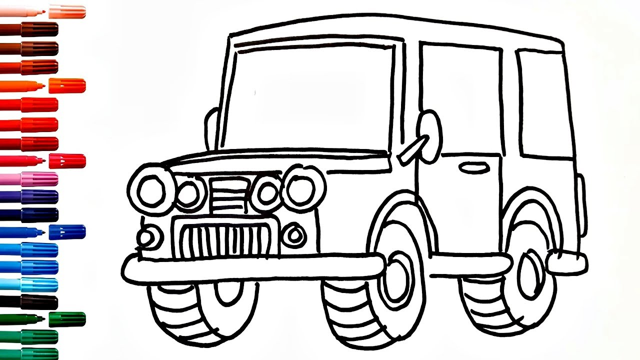 Coloring Book Fun Painting Drawing Car Jeep How To Draw And Paint Cars For Kids Youtube