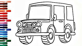 Coloring Book Fun Painting Drawing Car Jeep How to Draw and Paint Cars for Kids