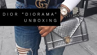 dIOR DIORAMA BAG IN METALLIC SILVER FALL 2017  UNBOXING & REVIEW