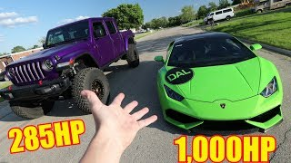 Drag Racing 1,000HP Twin Turbo Huracan vs. Jeep Gladiator!