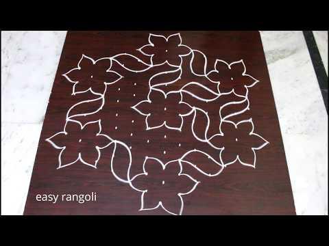 Kolam designs with flowers for Pongal with 13x8 interlaced dots - Sankranthi muggulu easy rangoli