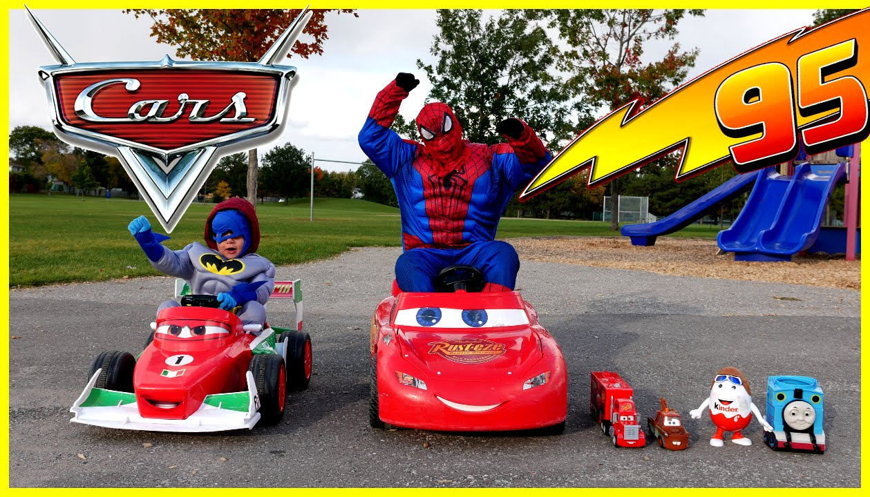 kid car race power wheels playtime at the park disney cars mcqueen spiderman egg surprise toys
