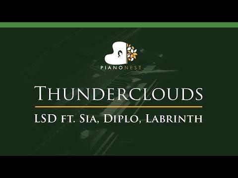 LSD - Thunderclouds Ft. Sia, Diplo, Labrinth - LOWER Key (Piano Karaoke / Sing Along)