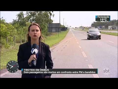 Passageiros de ônibus morrem em troca de tiros entre policiais e bandidos | SBT Brasil (22/11/17)