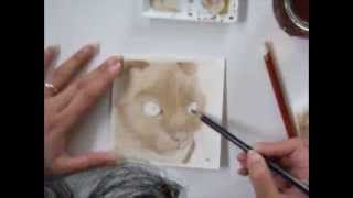 Painting a Cat Portrait with woodstain