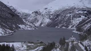 Avalanche caught on Camera - Geirangerfjord Norway 1/31/2019