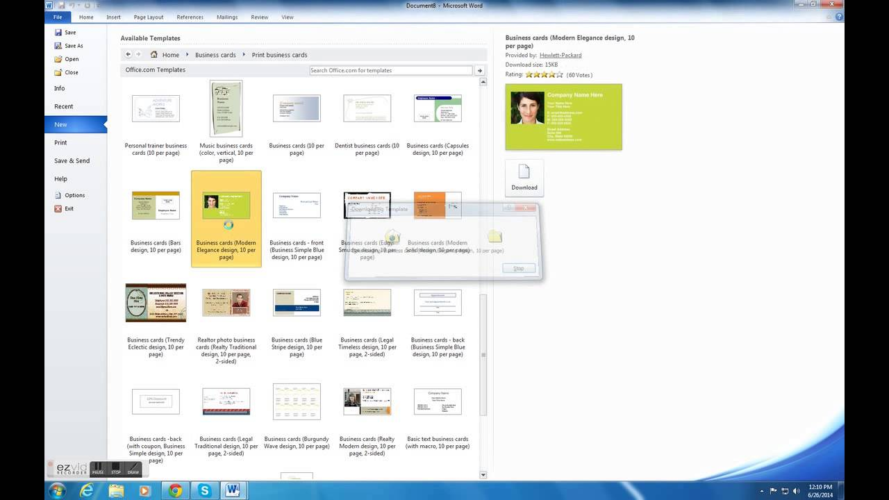 HOW TO MAKE BUSINESS CARDS ON MICROSOFT WORD (2010) - YouTube
