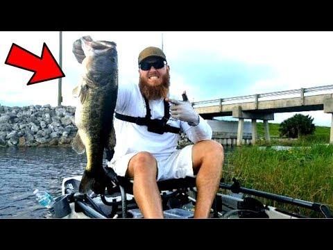 Huge Bass Caught Kayak Fishing South Florida Canals Crazy Youtube