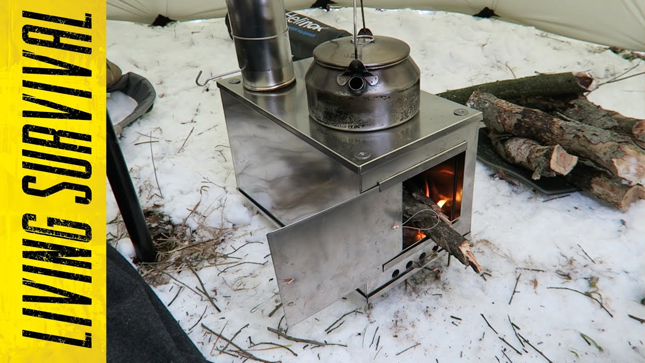 Seek Outside Titanium Wood Stove First Burn   YouTube