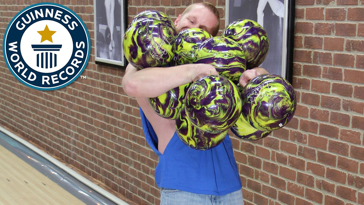 Most Bowling Balls Held At Once Guinness World Records