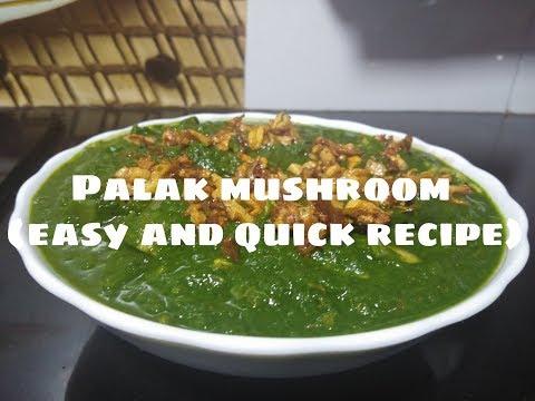 PALAK MUSHROOM  QUICK AND EASY RECIPE  KAVITA PATIL