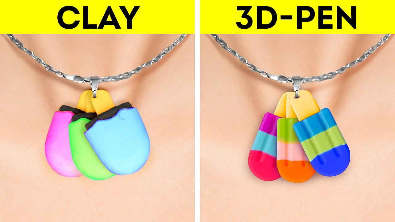 CLAY VS. 3D-PEN    Wonderful Miniature Ideas, DIY Jewelry And Accessories
