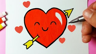 How to draw Heart in Love for Valentine's Day / Cute Drawings - Drawing to Draw