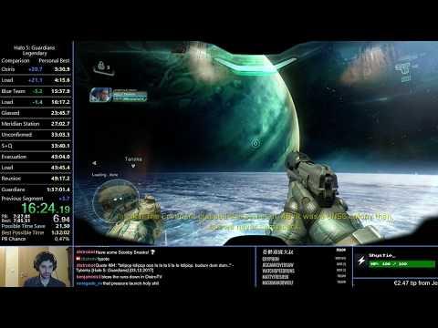 Halo 5 Legendary Full Game Speedrun 1h27m33s (1h36m10s RTA)