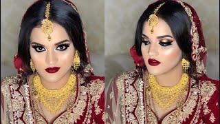 Real bride l Traditional red Indian/Pakistani/Bangladeshi bridal makeup look l makeup on client 2020