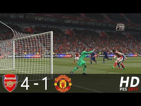 PES 2017 | Arsenal FC vs Manchester United | All Goals & Highlights Extended