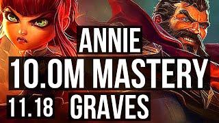 ANNIE vs GRAVES (MID) | 10.0M mastery, 5/1/7, 1500+ games, Rank 8 Annie | NA Grandmaster | v11.18