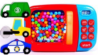 Microwave Toy for Children Learn Colors with Toy Car Vehicles