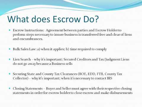 The Ins and Outs of Escrow