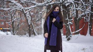 Простой шарф из толстой пряжи. Имитация английской резинки. Присоединение нити. МАСТЕР-КЛАСС
