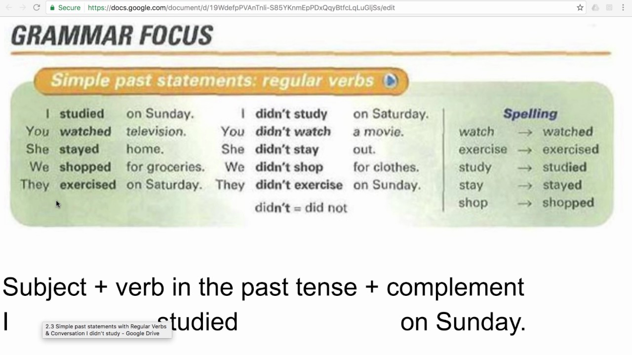 2 3 simple past statements with regular verbs youtube. Black Bedroom Furniture Sets. Home Design Ideas