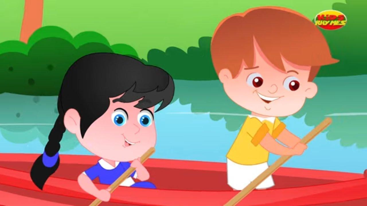 da fileira da fileira seu barco | poema infantil | rima para bebês | Row Row Row Your Boat Rhyme