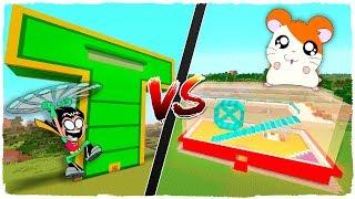 👉 Casa de HAMSTER vs casa de los TEEN TITANS GO - MINECRAFT