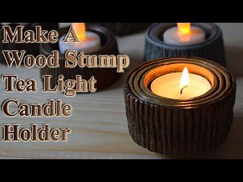 Make & Sculpt A Wood Stump Tea Light Candle Holder