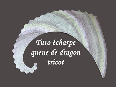 fe978f46753d TUTO ECHARPE QUEUE DE DRAGON AU TRICOT knit scarf dragon tail - YouTube